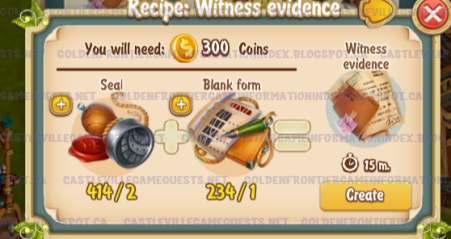 Golden Frontier Witness Evidence Recipe (sheriff's office)
