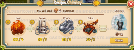 Golden Frontier Chimney Recipe (carriage building shop)