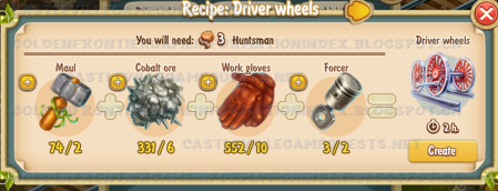Golden Frontier Driver Wheels Recipe (town station)