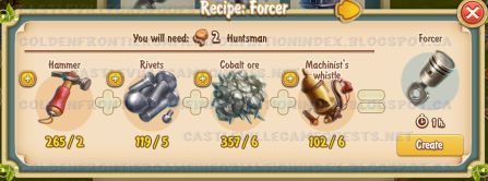 Golden Frontier Forcer Recipe (carriage building shop)