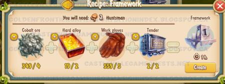Golden Frontier Framework Recipe (carriage building shop)
