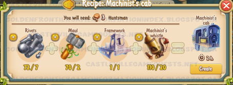 Golden Frontier Machinist's Cab Recipe (town station)