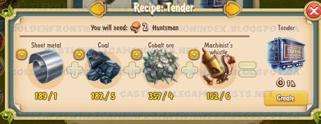 Golden Frontier Tender Recipe (carriage building shop)