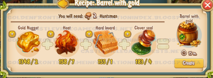 Golden Frontier Barrel With Gold Recipe (foundry)