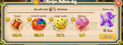 Golden Frontier Balloon Dog Recipe (workshop)