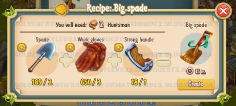 Golden Frontier Big Spade Recipe (smithy)