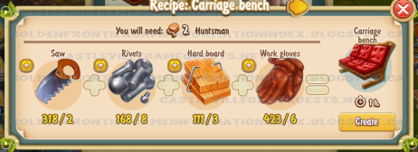 Golden Frontier Carriage Bench Recipe