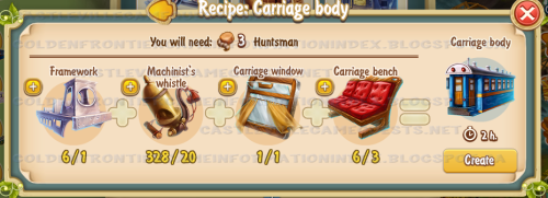 Golden Frontier Carriage Body Recipe