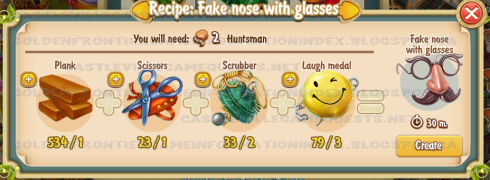 Golden Frontier Fake Nose With Glasses Recipe (workshop)