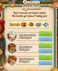 Golden Frontier Chocolate Ingredients Quest