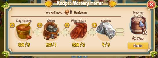 Golden Frontier Masonry Mortar Recipe (pottery)