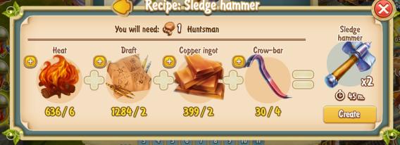 Golden Frontier Sledgehammer Recipe (smithy)