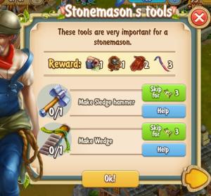 Golden Frontier Stonemason's Tools Quest