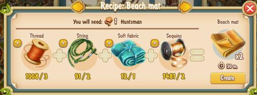 Golden Frontier Beach Mat Recipe (workshop)