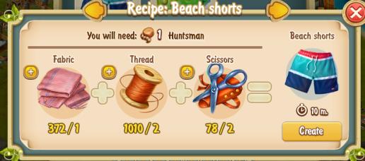 Golden Frontier Beach Shorts Recipe (workshop)