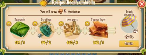 Golden Frontier Beach Umbrella Recipe (smithy)