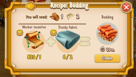 Golden Frontier Bedding Recipe (craftsman's house)
