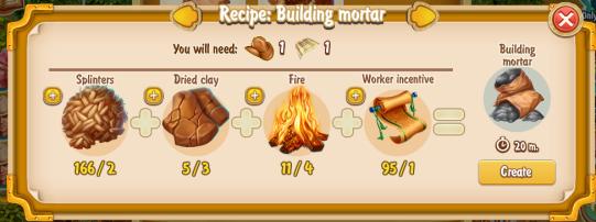 Golden Frontier Building Mortar Recipe (craftsman's house)