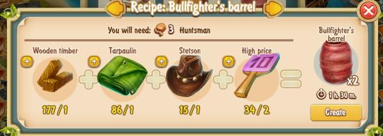 Golden Frontier Bullfighter's Barrel Recipe (sawmill)