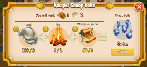 Golden Frontier Cheap Bolts Recipe (prospector's smithy)