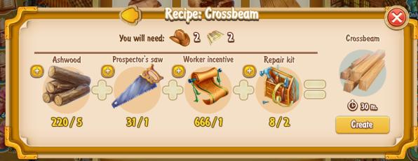 Golden Frontier Crossbeam Recipe (craftsman's house)