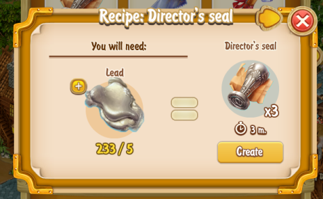 Golden Frontier Director's Seal Recipe (prospector's smithy)