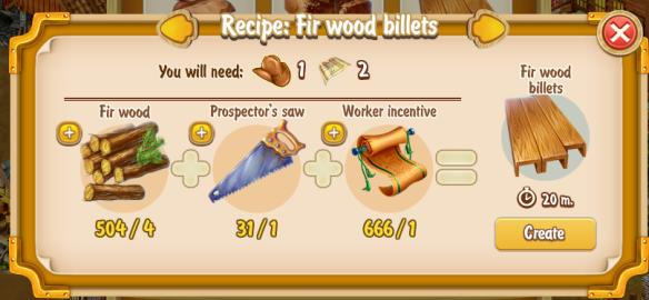 Golden Frontier Fir Wood Billets Recipe (craftsman's house)