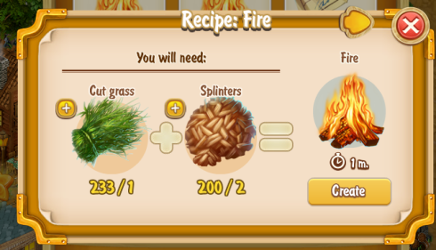Golden Frontier Fire Recipe (craftsman's house)