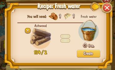 Golden Frontier Fresh Water Recipe (prospector's well)