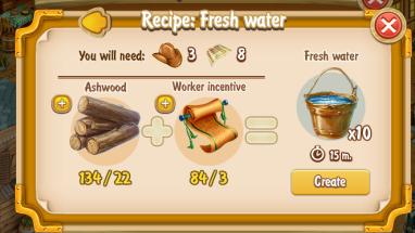 Golden Frontier Fresh Water x10 Recipe (prospector's well)
