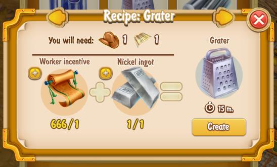 Golden Frontier Grater Recipe (prospector's smithy)
