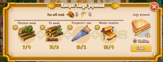 Golden Frontier Large Plywood Recipe (craftsman's house)