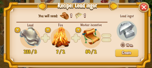 Golden Frontier Lead Ingot Recipe (prospector's smithy)