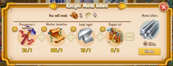 Golden Frontier Metal Billets Recipe (prospector's smithy)