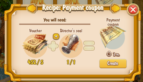 Golden Frontier Payment Coupon Recipe (craftsman's House)