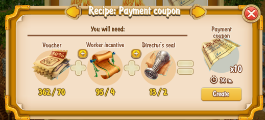 Golden Frontier Payment Coupon x10 Recipe (craftsman's house)