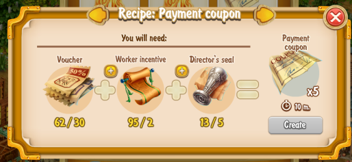 Golden Frontier Payment Coupon x5 Recipe (craftsman's house)