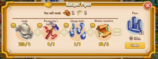 Golden Frontier Pipes Recipe (prospector's smithy)