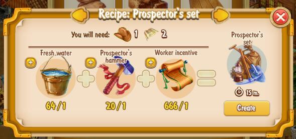 Golden Frontier Prospector's Set Recipe (craftsman's house)