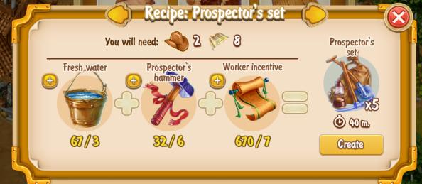 Golden Frontier Prospector's Set x5 Recipe (craftsman's house)