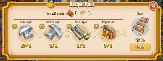 Golden Frontier Rails Recipe (prospector's smithy)