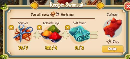 Golden Frontier Swimsuit Recipe (textile workshop)