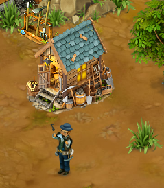 Miners House with worker