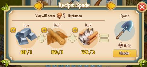Golden Frontier Spade Recipe